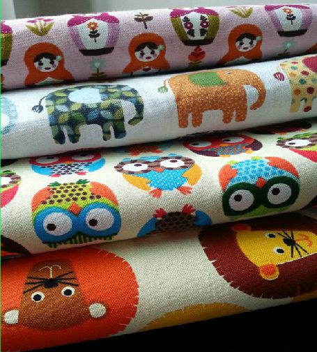 printed canvas cartoon Pure cotton fabrics elephant, owl, lions Children room pillow cloth curtain sofa DIY Quilted 50*145cm(China (Mainland))