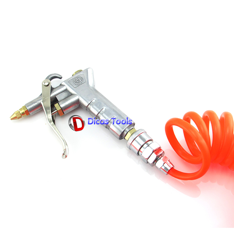 High pressure copper nozzle air blow gun pneumatic dust remove tool with 6m spring hose(China (Mainland))