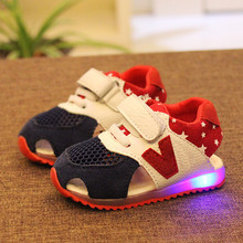 2015 Summer baby shoes child 1 - 3 years old baby sport shoes girl baby with Led Lights child soft outsole baby toddler shoes(China (Mainland))