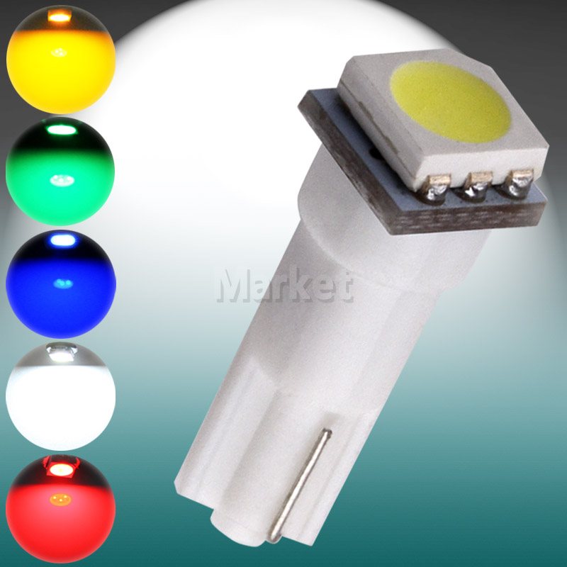 10pcs T5 1 SMD Dashboard Wedge Instrument Lights 1 LED 74 Car Interior Light auto Lamp Bulb White/Red/Blue/Green/Yellow u60(China (Mainland))