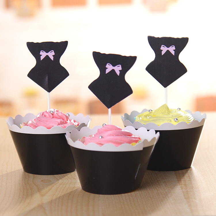 Cute black bowknot cake cup picks topper decoration birthday wedding party Valentine supplies swimsuit swimwear cupcake wrappers(China (Mainland))