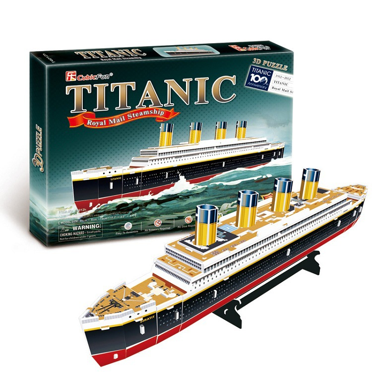 3D Puzzles Titanic Ship DIY Paper Model Kids Creative IQ Puzzles Adults Gifts Children Educational Toys Cardboard Model 35 PCS(China (Mainland))