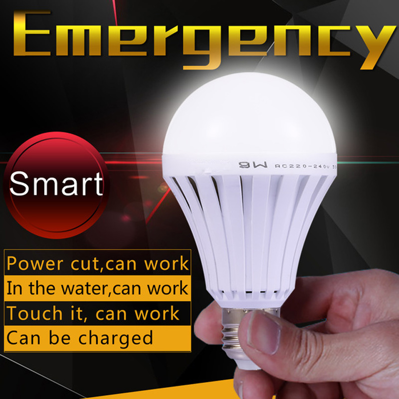 Smart Led Bulb E27 220v Emergency Rechargeable Battery Powered Led Lights 3W 5W 7W 9W 12W 15W Super Brights Outdoor Led Lighting(China (Mainland))