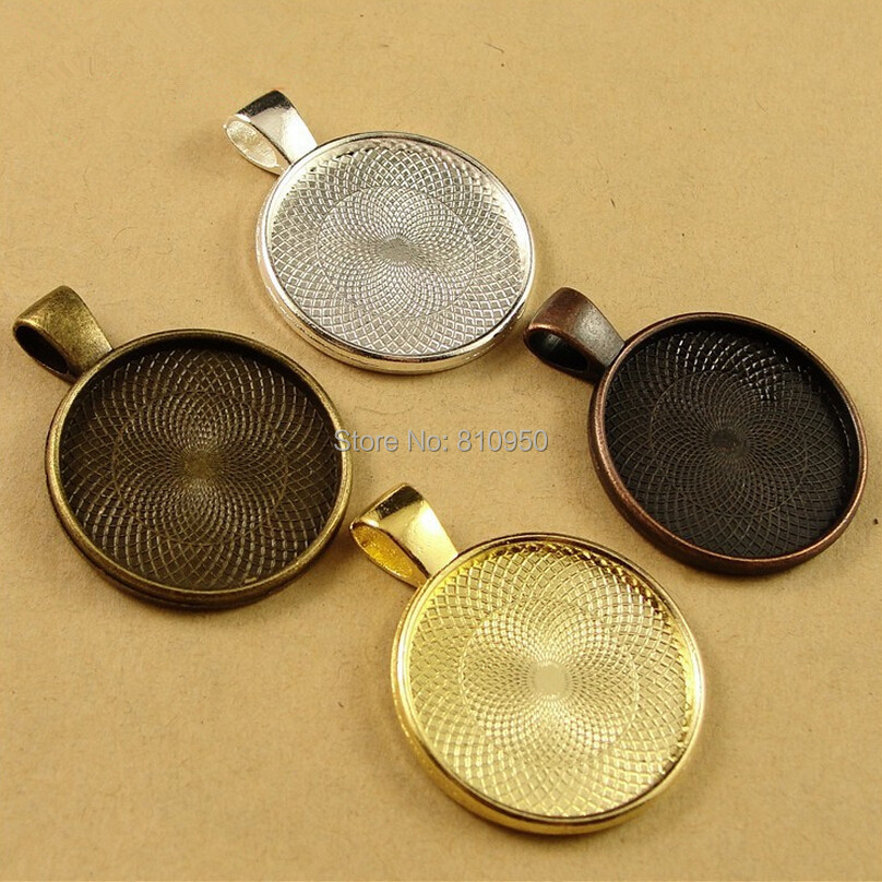 40pcs 28mm Inner:25MM Alloy/Metal Gold Color Blank Tray Pendant Cameo cabochon,DIY Jewelry cameo Base settings Accessory
