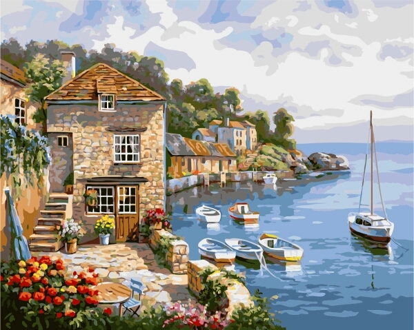 DIY Oil Painting By Numbers Frameless Paint On Canvas Wall Pictures For Living Room Wall Art Home Decor Mediterranean scenery(China (Mainland))