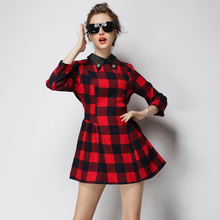 2015 European Style Tartan Plaid Fashion Women Casual Dress Diamonds Collar High Quality colthing Work Wear S M L XL robe OM275