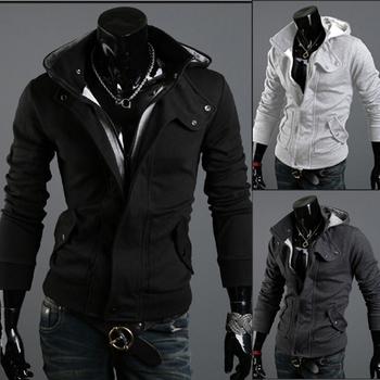hot sale Spring and autumn coats zipper men solid colur cardigan men's coat casual slim warm jacket hoodies men