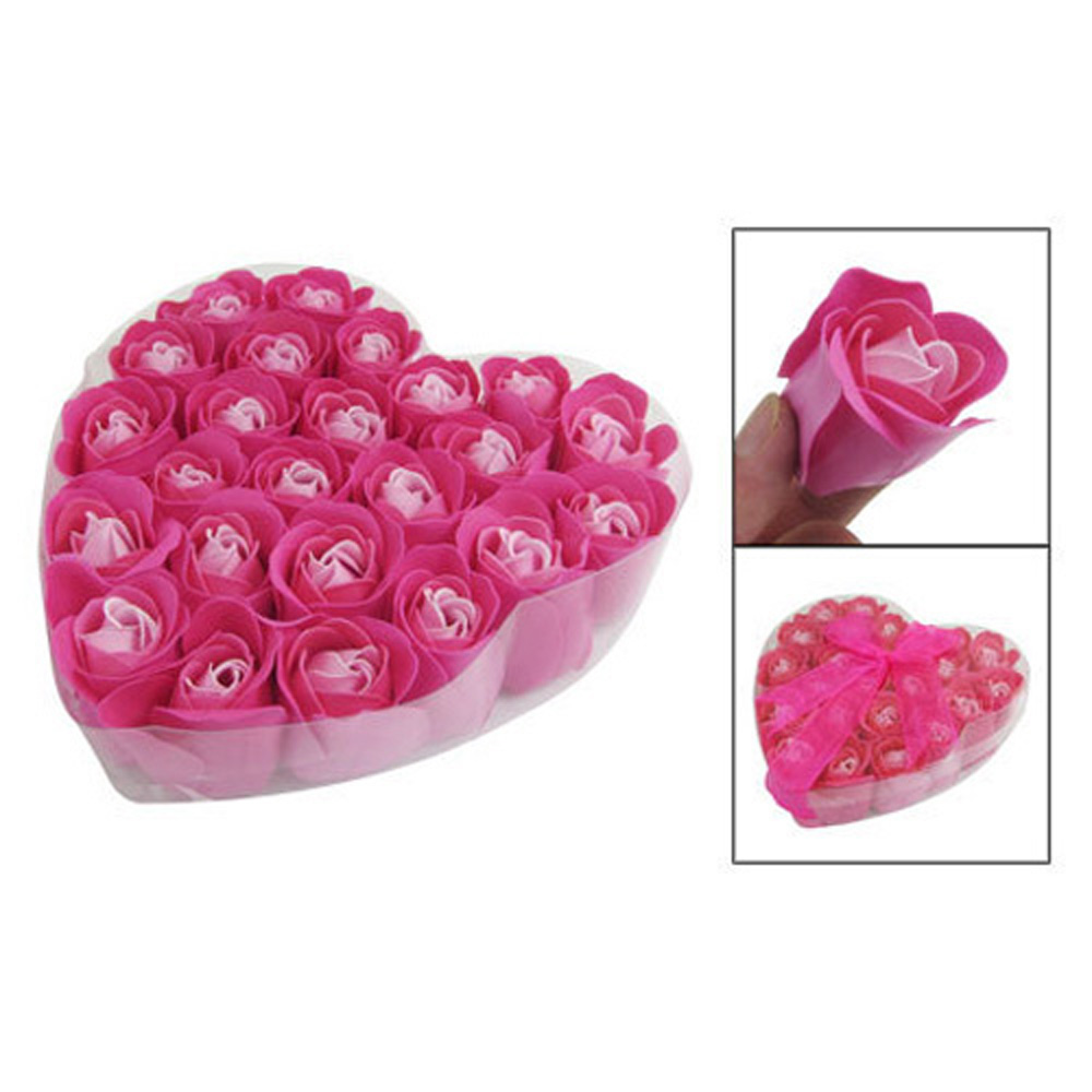 JEYL Hot New 24 Pcs Red Fuchsia Scented Rose Flower Petal Bath Body Soap Wedding Party Gift(China (Mainland))