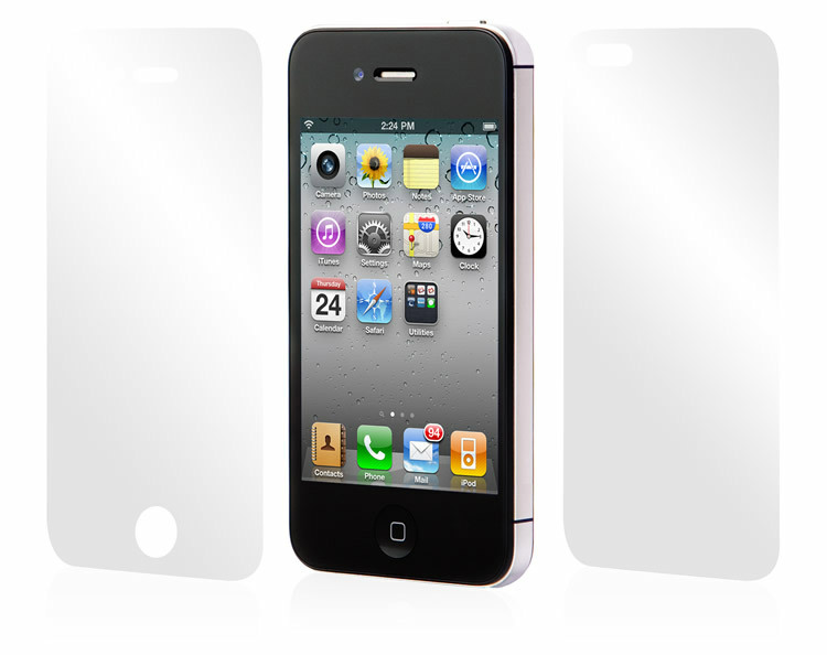 s front & back clear screen protector iPhone 4 4S protective film guard cleaning cloth - ShenZhen QMT Techonlogy Co., Ltd store