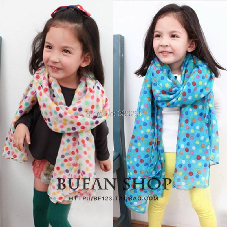 Hot sale 2016 autumn and winter children scarf baby girls/kids colorful dot cotton blended fashion scarf retail/wholesale(China (Mainland))