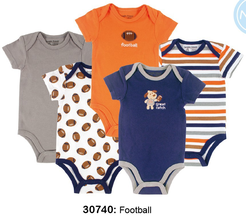 5 pcs/ lot Luvable Friends Baby Pajamas Newborn Baby Rompers Infant Cotton Short Sleeve Next Bebe Clothing Boy Girl Wear Overall(China (Mainland))