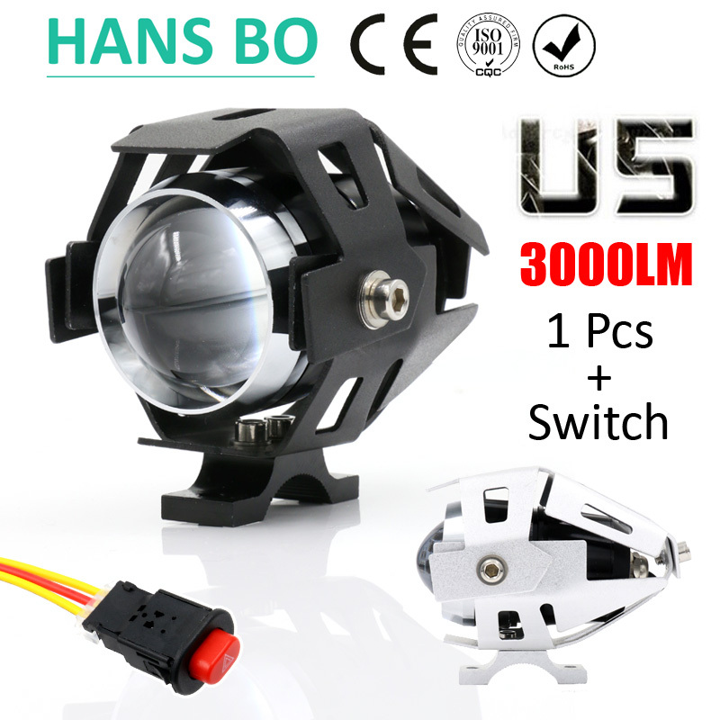 1 PCS 125W 2 Color Motorcycle Motorbike Headlight 3000LMW Upper Low Beam & Flash CREE U5 LED Driving Fog Spot Head Light Lamp(China (Mainland))