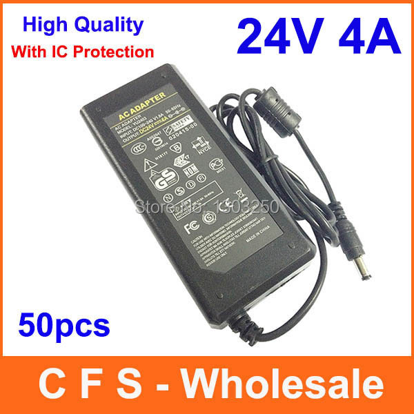 50pcs High Quality AC DC 24V 4A Power Supply Adapter 24V 96W Adaptor Charger Lots Express Free shipping wholesale(China (Mainland))