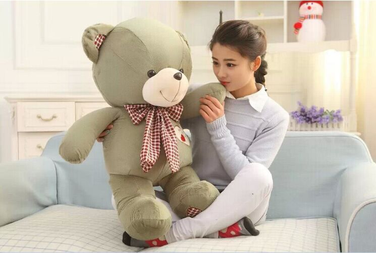 lovely huge teddy bear toy plush green bow teddy bear heart bear doll gift about 100cm(China (Mainland))