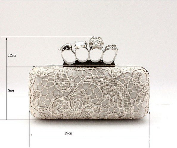 Ladies' Skull Clutch Knuckle Rings Handbag Lace plus Satin Material Hasp Four Fingers Evening Bag Party Punk Wallet