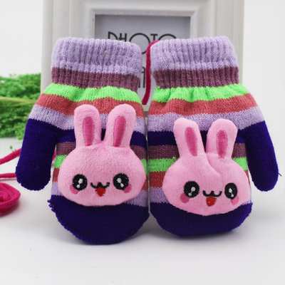Children s Cartoon Winter Warm Gloves Quality Polyester Knit Wool Design Winter Children Warm Gloves Owl