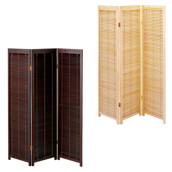 Blind Partition Oriental Japanese Style 3 Panel Wood