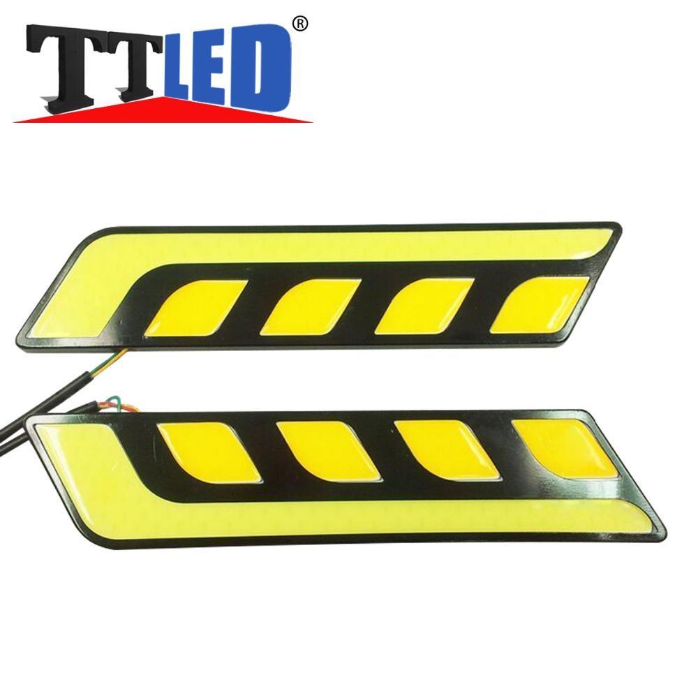 2pcs/lot 2015 Car DRL COB LED Daytime Running Lights Fog Lights with Turn Signal Waterproof White/Yellow #TM120(China (Mainland))