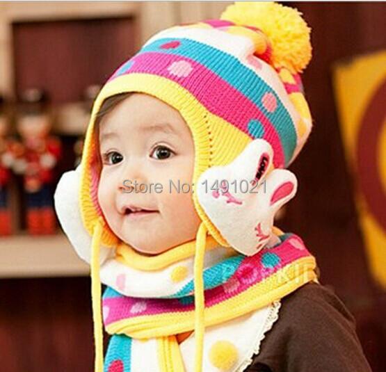 Baby Autumn & Winter Hat Kids Warm Ear Muff Cap Baby Crochet Ear Hat Scarf Cute Rabbit Free Shipping(China (Mainland))