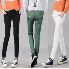 2013 100% multicolour cotton elastic waist casual trousers women's elastic pencil pants the trend of plus size pants(China (Mainland))