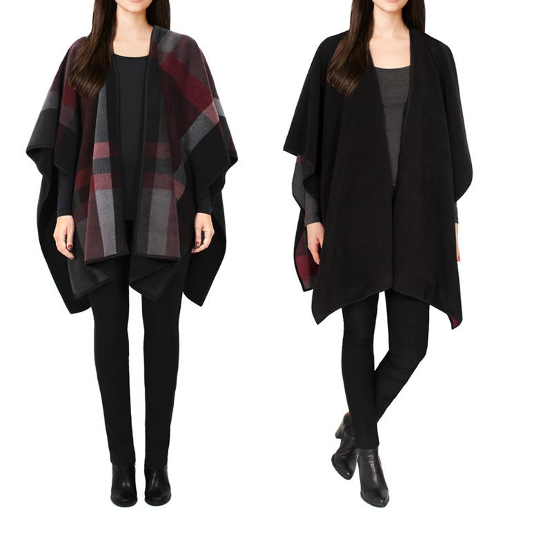 New Fashion 2016 Summer High Quality European style autumn and winter thick shawl cape coat both sides wear scarves J1(China (Mainland))
