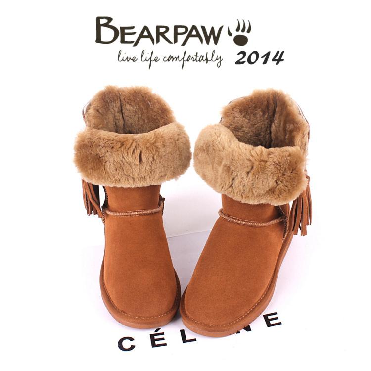 Bearpaw boots tassel female boots classic women-shoe medium-leg waterproof slip-resistant outsole leather cow muscle shoes
