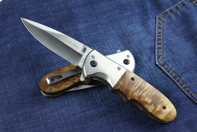 New Arrival Boker DA72 Combat Camping Folding Knife With 57HRC 5CR13MOV Blade Steel Red Shadow Wood