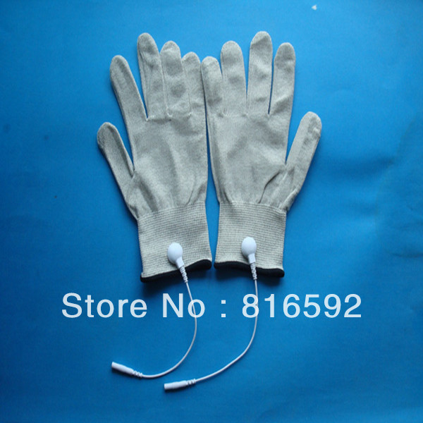 5pairs Free shipping fashion hand sliver fiber conductive massage gloves electric massage glove for tens unit(China (Mainland))