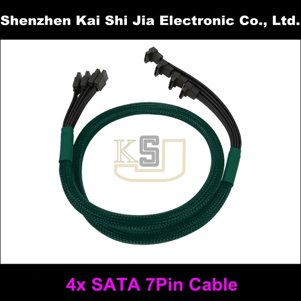 Wholesale Quality Multicolor Sleeved 4x SATA II High Speed 7 Pin Cable With Latch - Blue 60cm(China (Mainland))