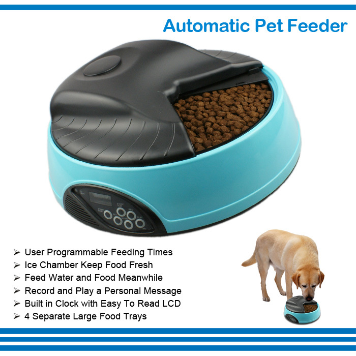Durable Battery Powered Programmable Record Personal Message Water Tray Pet Automatic Food Feeder with LCD Screen(China (Mainland))