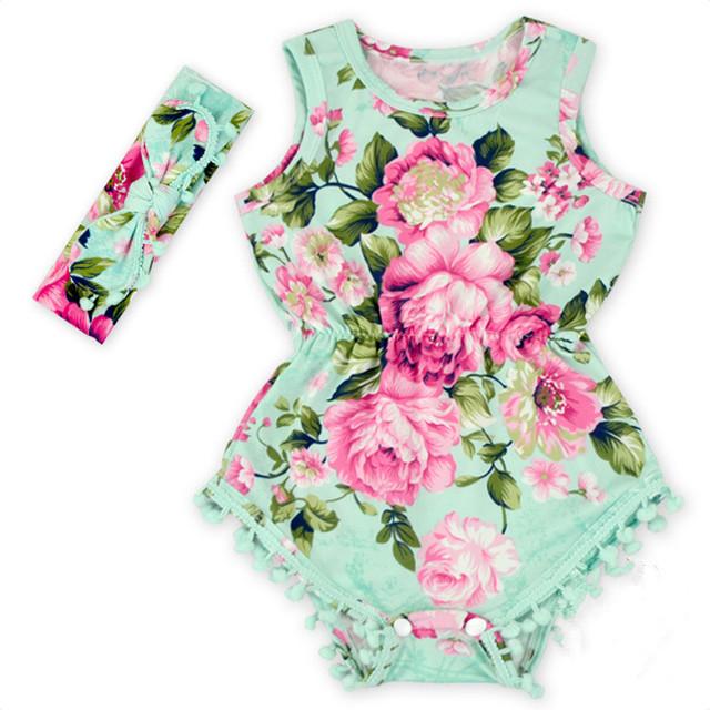 2016 новый Девочка Довольно летом Ползунки Цветок Пом Пом Ползунки ребенок Розовый Девочка цветочные ползунки девочка бутик одежды