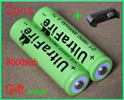 New 2015 hot 2pcs /lot ultrafire 18650 battery 8800 mah li-ion 3.7v rechargeable battery for flashlight leds a battery + charger(China (Mainland))