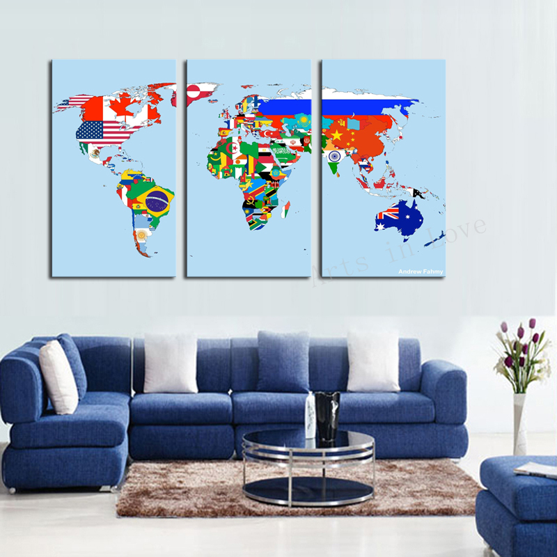 3 Panel Modern Wall Art Home Decoration Frameless print Painting Canvas Pictures Beautiful World Map Living Room Dector - Whisper of painting store