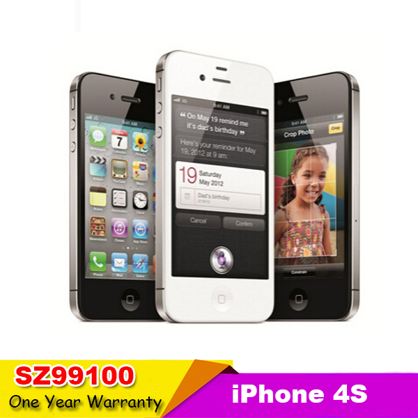 Factory unlock original iphone 4s 8GB 16GB 32GB 64GB ROM GSM WCDMA ios7 Dual Core(In sealed box) used phone(China (Mainland))