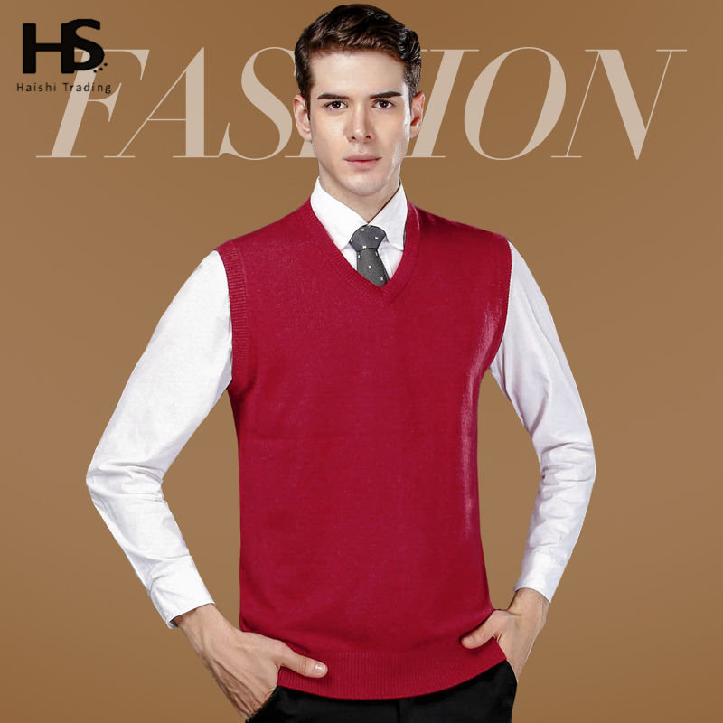 Cashmere Sweater Vest Men Thick Warm Knitted Wool Sleeveless Pullover Men Solid Color V-Neck Coat Student Factory Wholesale 6408(China (Mainland))