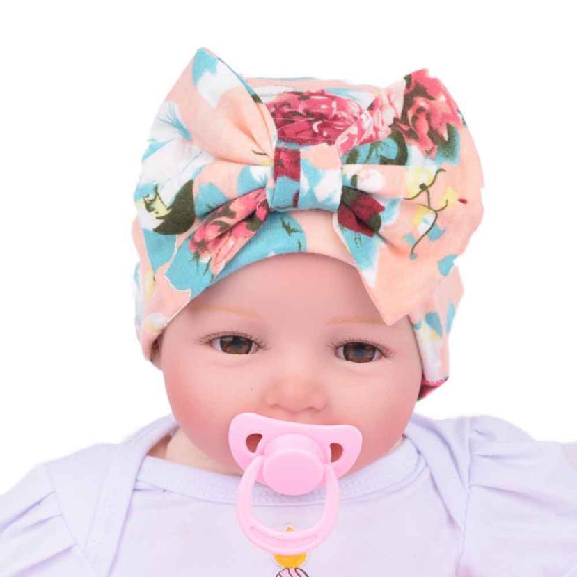 SIF Newborn Hospital Hat Newborn Baby Hats With Flower Bowknot Flower Hat JUL 04(China (Mainland))