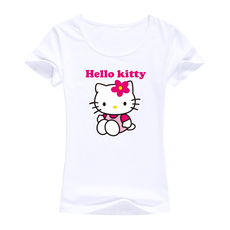 2016 sweet designed tops tees Hello Kitty image women t shirt harajuku kawaii good quality women brand clothing for girls(China (Mainland))