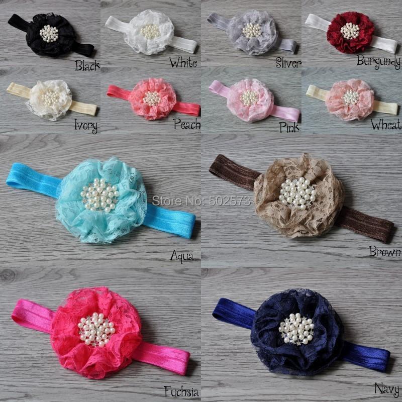 240pcs/lot Lace Beaded Chiffon Flower Pearl Rhinestone Lace Ruffled Flower baby Headband 12Colors<br><br>Aliexpress