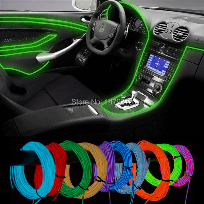 5V-12V 3M EL Wire Tube Rope Battery Powered Flexible Neon Light Car Party Wedding Decoration With Controller(China (Mainland))