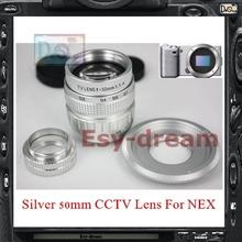 Silver 50mm F1.4 CCTV TV Lens + C Mount Adapter for Sony NEX3 NEX5N NEX5T NEX6 NEX7 NEXF3 NEXC3 a3000 a5000 a6000 Camera PA247(China (Mainland))