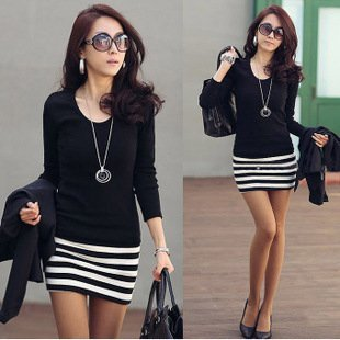 New arrival 2014 Long Sleeve Dresses Women Korean fashion Slim Sexy striped mini OL lady's dress free shipping,