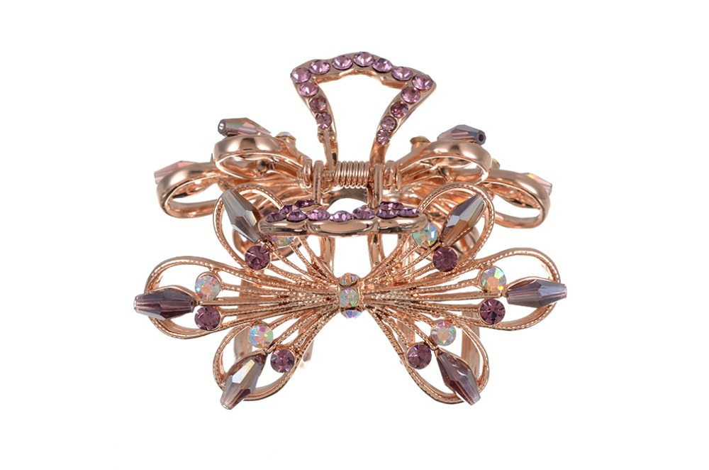 Women accessory Bowknot Rhinestone Hair Claw Clamp Clip Barrette Gold Alloy Free - LinJie Jewelry Factory&Trading company store