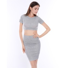 Buy 2017 New Spring 2 piece set women O-Neck Short sleeve Crop top skirt set Elastic Waist Knee-Length Tight Sexy two piece set for $10.06 in AliExpress store