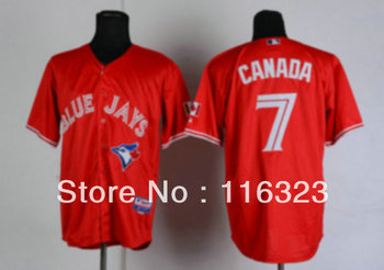 Wholesale- 2013 New Style Blue Jays CANADA #7 Red Baseball Jersey Size:48~56+Mix Order,Free Shipping