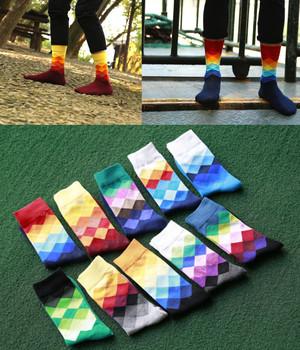 10colors Men's socks British Style Plaid calcetines Gradient Color brand elite long cotton socks for Happy men wholesale socks