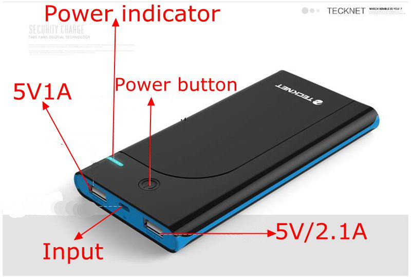 Hot TeckNet Universal 18650 Power Bank 10000mah Powerbank 10000 mah 5V 2.1A for iPhone 5 Charge 500% dual usb for All Phone