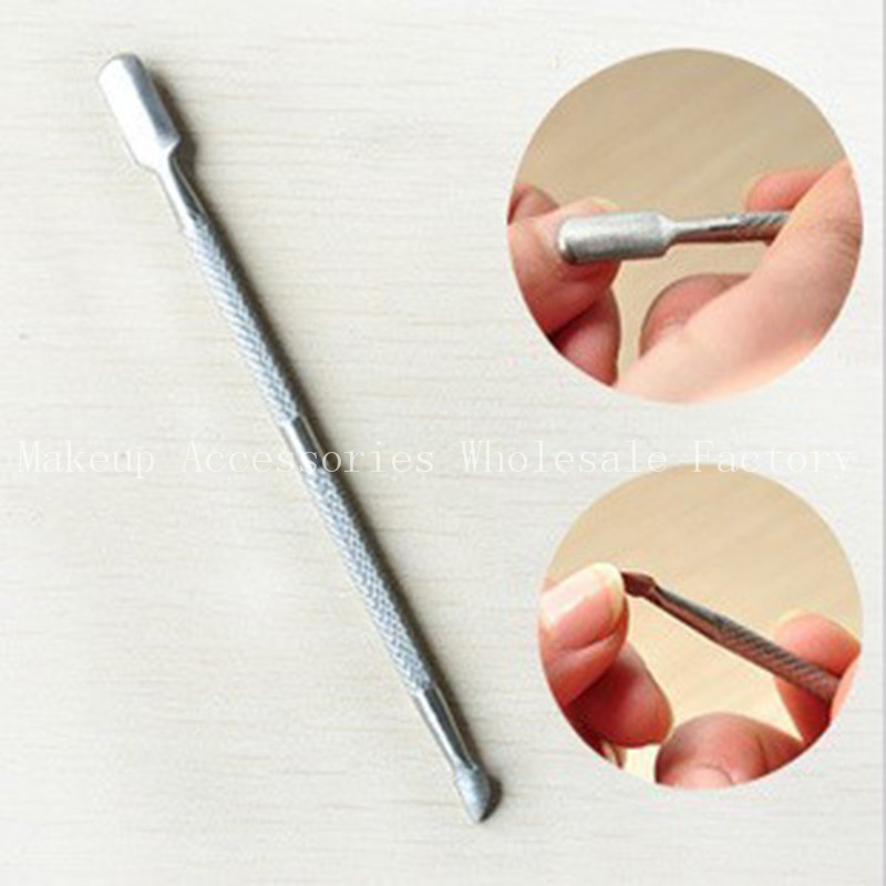 Professional 1000PCS Stainless Steel Cuticle Pusher Finger Tools to Shape Perfect Fingernails Double Sided Steel Push Nail Tools(China (Mainland))