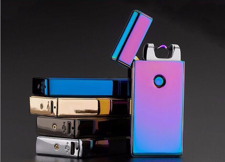 ถูก 12ชิ้น/ล็อตขายส่งusb windproofบางเฉียบน้ำหนักเบาUsbอิเล็กทรอนิกส์สร้างสรรค์ไฟแช็บุหรี่สูบบุหรี่เครื่องประดับarcเบา