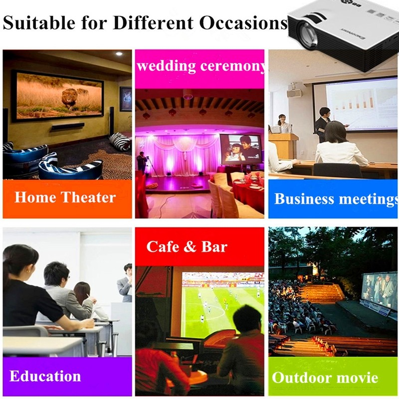 Excelvan UC40 800 Lumens Portable Mini LED Projector Multimedia Home Cinema Theater 800480RGB USBAVSDHDMI 3.5mm Audio out 4