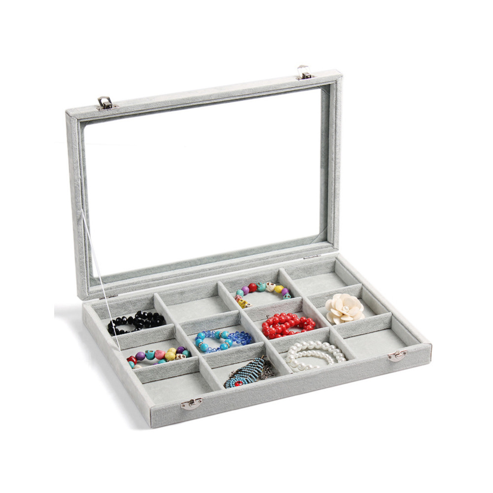 New Arrival, Clear Lid 12 Grid Jewelry Tray Showcase Display Storage Free Shipping(China (Mainland))
